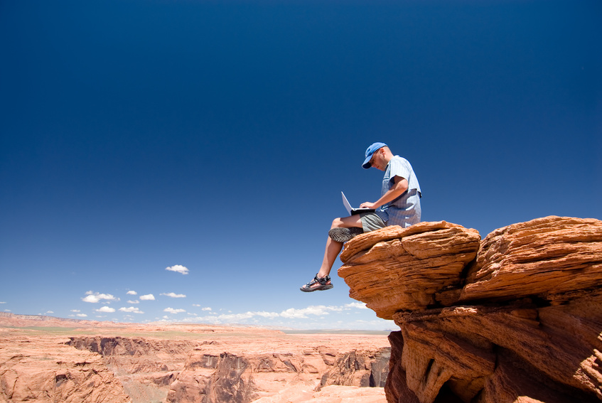 USA. Arizona. Page. Horseshoe Bend. Man with notebook